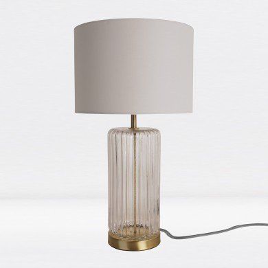 Fluted Design Table Lamp Finished in Clear Glass and Bronze Effect Colour with Ivory Woven Cylinder Fabric Shade
