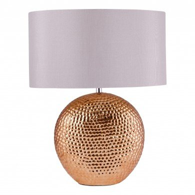 Dimpled Textured Oval Copper Plated Ceramic Bedside Table Light Base with Grey Faux Silk Oval Fabric Shade