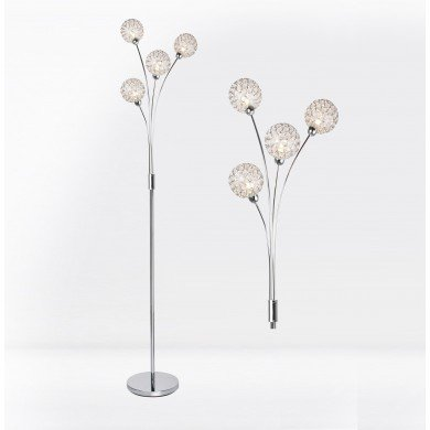 4 Light Chrome Plated Floor Standard Light with Jewelled Clear Beaded Shades