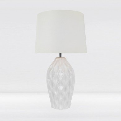 Textured White Gloss Glaze Ceramic Bedside Table Light with White Textured Cotton Fabric Shade