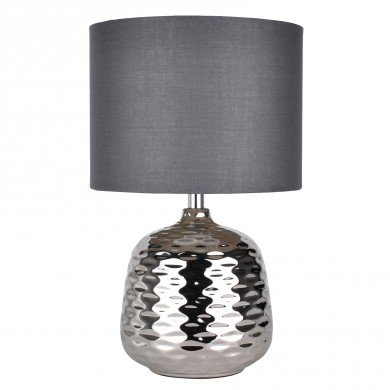 Chrome Ceramic Dimple Table Lamp with Grey Shade