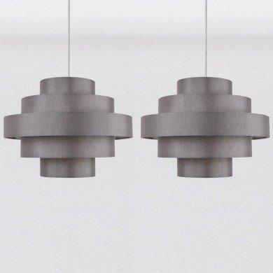 Set of 2 Silver Grey Faux Silk 5 Tier Light Shades