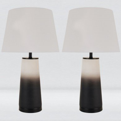 Set of 2 White & Grey Ombre Ceramic Table Lamp