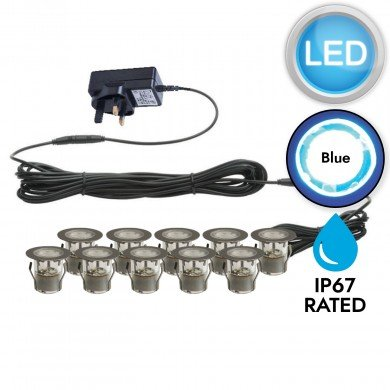 Set of 10 - 30mm Stainless Steel IP67 Blue LED Plinth Decking Kit
