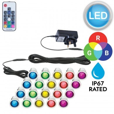 Set of 20 - 30mm Stainless Steel IP67 RGB Colour Changing LED Plinth Decking Kit