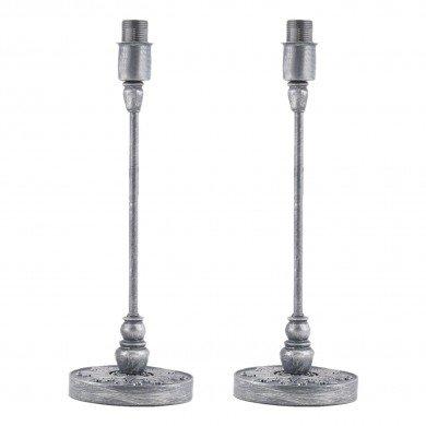 Set of 2 Modern Table Lamps Bedside Lights 36cm Bases Silver Painted Resin Design