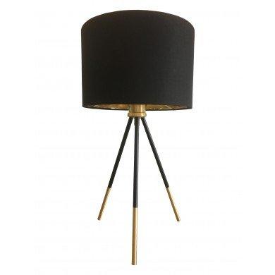 Trim - 51cm Black and Satin Brass Tripod Table Lamp