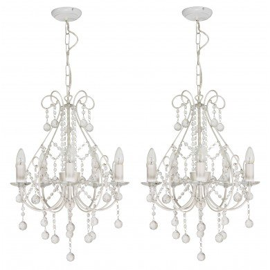 Pair of Crystal Chandeliers in White with Silver Brush Strokes