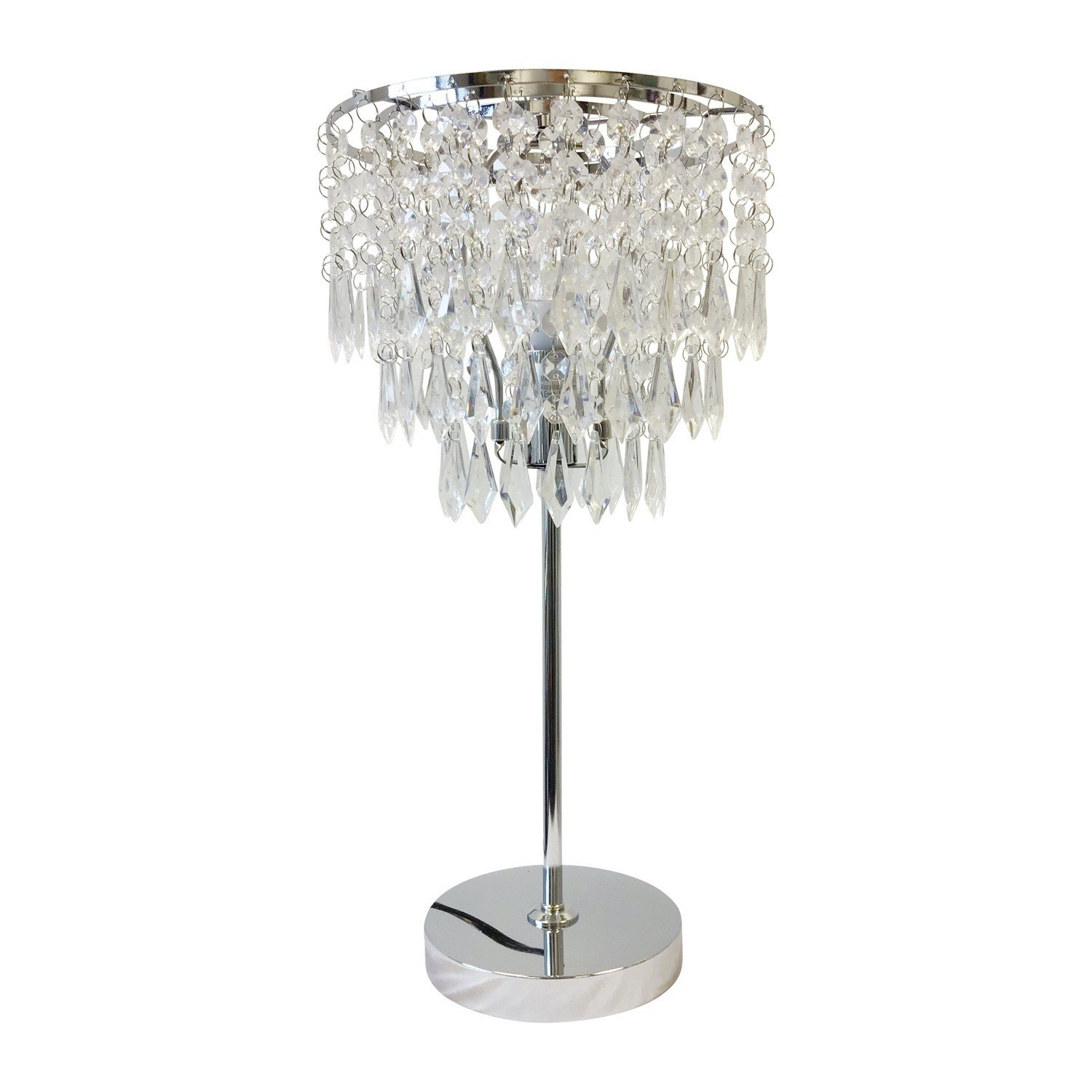 Chrome And Acrylic Crystal Jewelled, Chandelier Bedside Lamps Uk