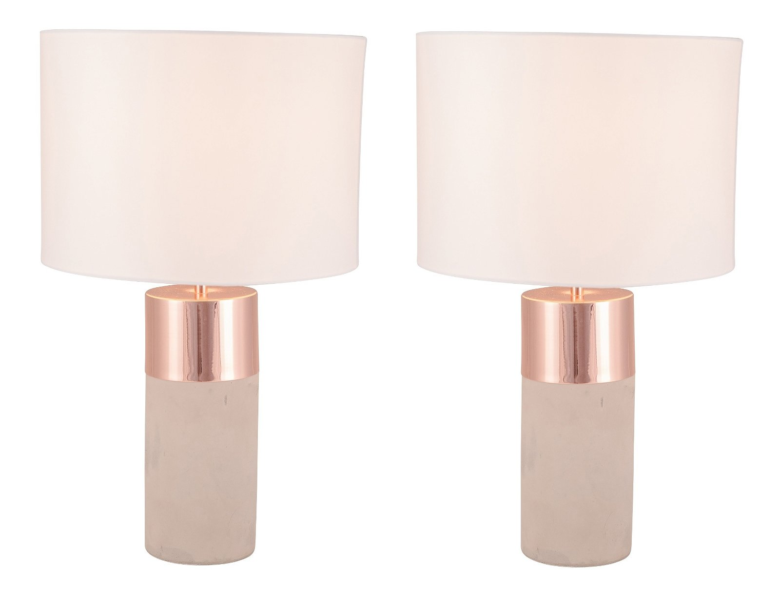 Pair Of Layered Cylinder Concrete And Copper Table Lamps With White Fabric Shades
