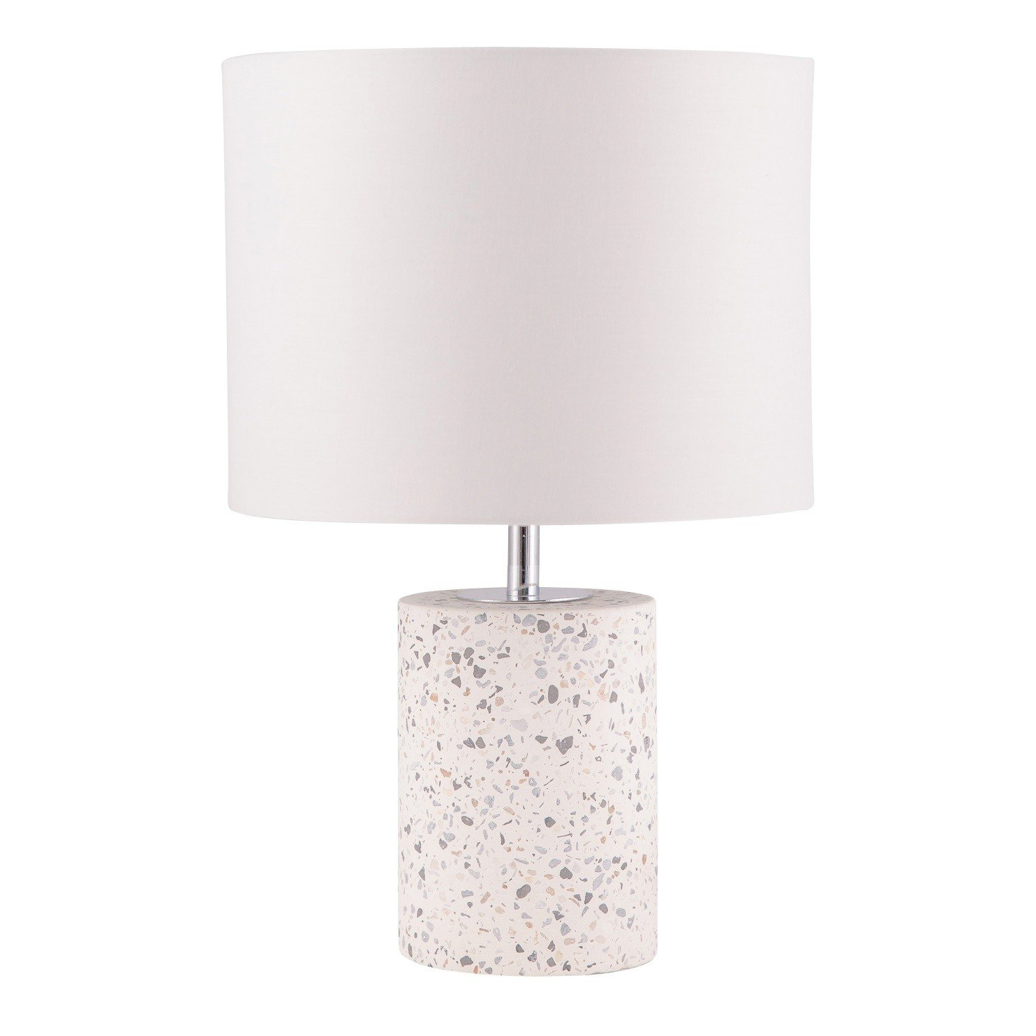 White Terrazzo Cylinder Table Lamp