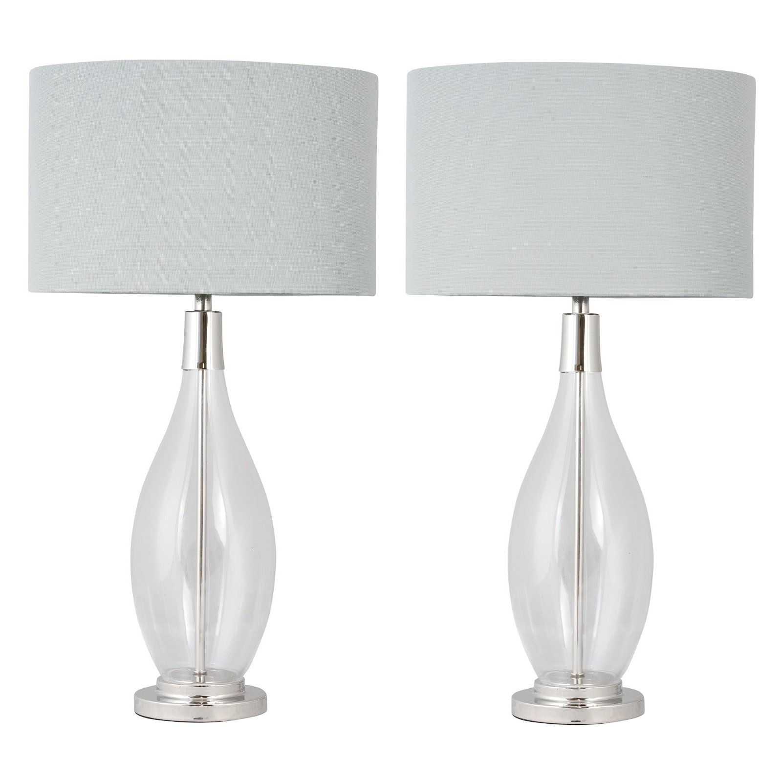 Picture of: Lana Clear Glass Table Lamp With Oval Grey Linen Shade