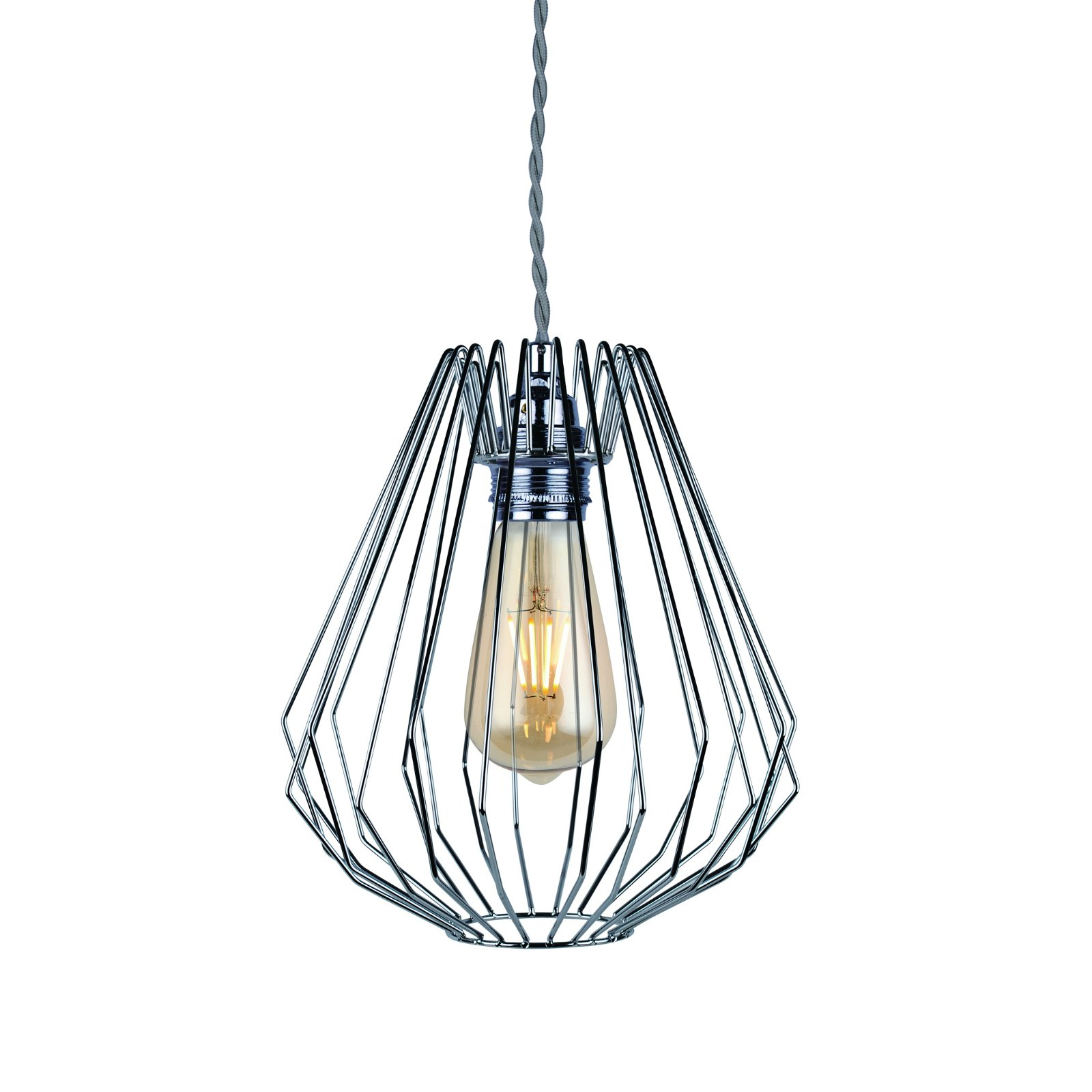 Polished Chrome Wire Geometric Ceiling Light Fitting