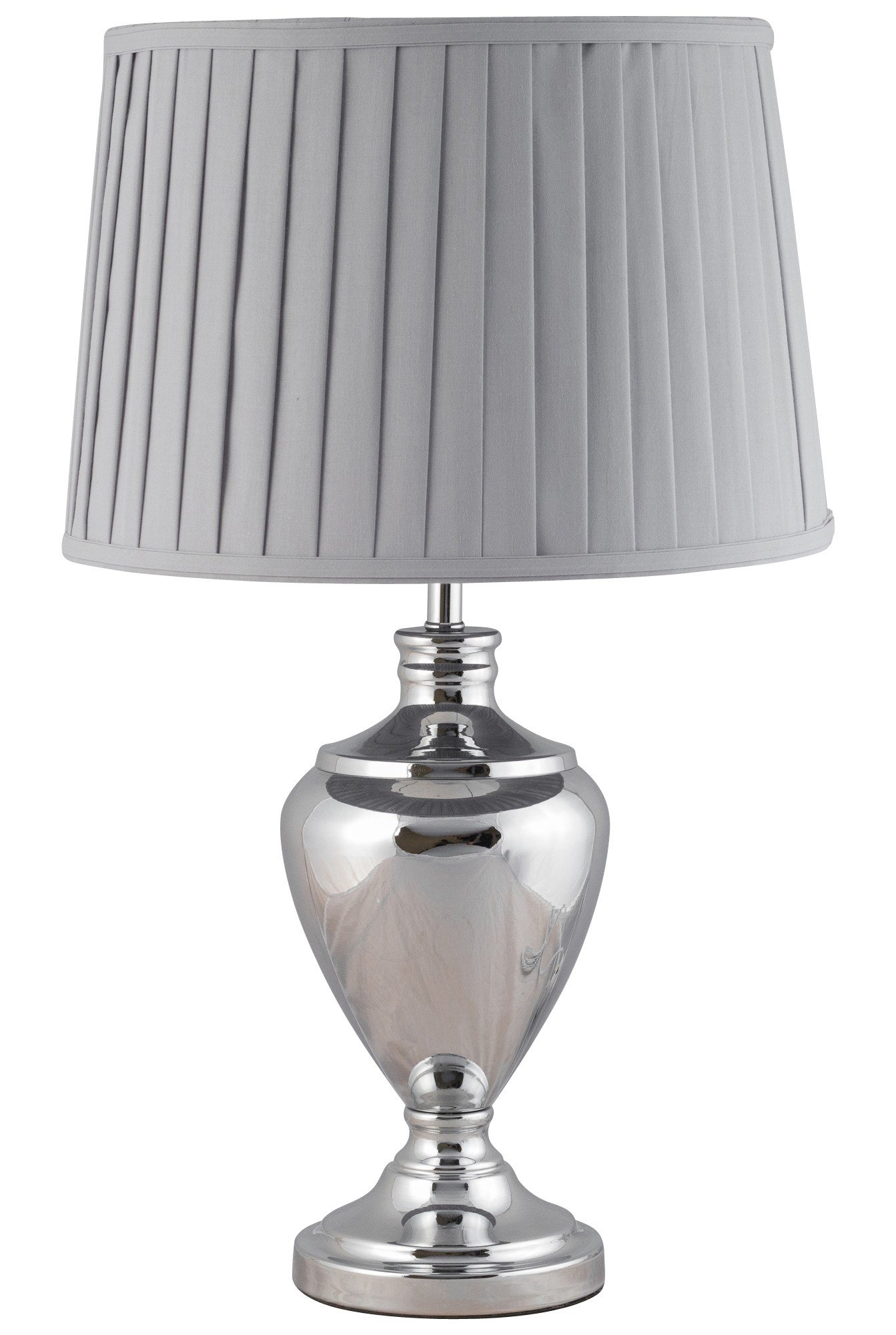 58cm Urn Style Table Lamp In Polished Chrome With Grey