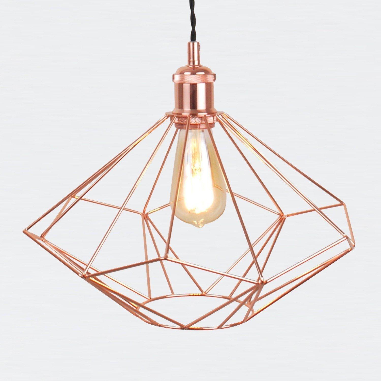 Copper Geometric Pendant Light Fitting