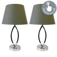 Set of 2 Chrome Touch Lamps with Grey Shades