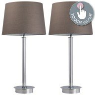 Set of Chrome Column Touch Lamps with Grey Shades
