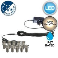 Set of 10 - 15mm Stainless Steel IP67 Warm White LED Decking Kit with Dusk til Dawn Photocell Sensor