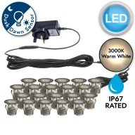 Set of 20 - 30mm Stainless Steel IP67 Warm White LED Decking Kit with Dusk til Dawn Photocell Sensor