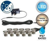 Set of 10 - 30mm Stainless Steel IP67 Warm White LED Decking Kit with Dusk til Dawn Photocell Sensor