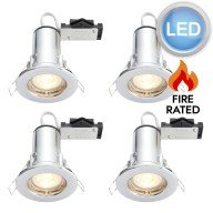 4 x Polished Chrome Fire Rated Fixed LED Downlights