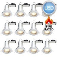 12 x Polished Chrome Fire Rated Fixed LED Downlights
