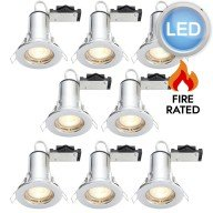 8 x Polished Chrome Fire Rated Fixed LED Downlights