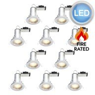 10 x Polished Chrome Fire Rated Fixed LED Downlights