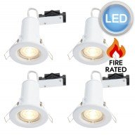 4 x Gloss White Fire Rated Fixed LED Downlights