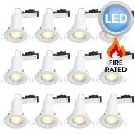 12 x Gloss White Fire Rated Fixed LED Downlights