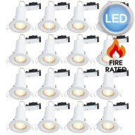 16 x Gloss White Fire Rated Fixed LED Downlights