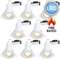8 x Gloss White Fire Rated Fixed LED Downlights