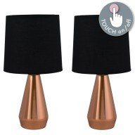 Set of Two Copper Touch Lamps with Black Shades