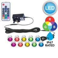 Set of 10 - 30mm Stainless Steel IP67 RGB Colour Changing LED Plinth Decking Kit