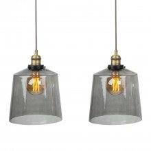 Set of 2 Smoked Glass Cloche Ceiling Pendant Lights