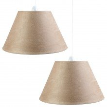 "Set of 2 Modern 10"" (250mm) Latte Suede Fabric Shades"