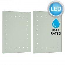Pair of Battery Operated Rectangular LED Illuminated Bathroom Mirrors