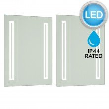 Pair of Battery Operated Rectangular LED Illuminated Bathroom Mirrors (no wiring required)