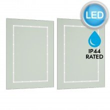 Pair of Battery Operated Rectangular LED Illuminated Bathroom Mirrors