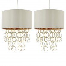 Pair of Ivory Faux Silk and Satin Brass Rings Ceiling Light Pendants