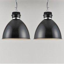 Pair of Gloss Black Industrial Style Ceiling Light Pendants