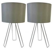 Set of 2 Chrome Tripod Table Lights with Grey Cotton Shade