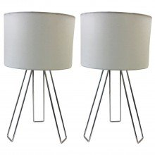 Set of 2 Chrome Tripod Table Lights with White Cotton Shade