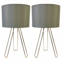 Set of 2 Copper Tripod Table Lights with Grey Cotton Shade