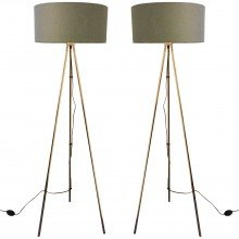 Pair of Copper Tripod Floor Lamps with Grey Fabric Shades