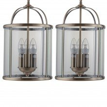 Set of 2 Antique Brass Lantern Pendants