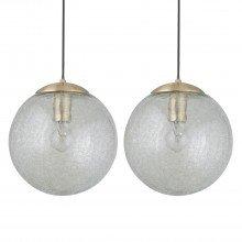 Set of 2 Satin Brass Crackle Glass Pendants