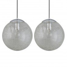 Set of 2 Polished Chrome Crackle Glass Pendants