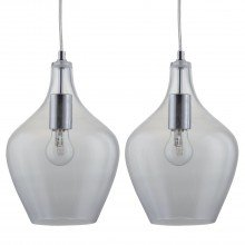 Set of 2 Clear Glass Bell Pendants with Chrome Details
