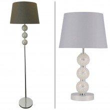 Mosaic 3 Ball Floor & Table Lamp with Grey Shade
